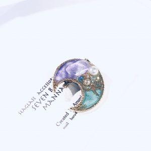 海のブローチ月(紫ターコイズ)②