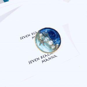 海のブローチ丸(濃青ターコイズ)③