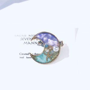 海のブローチ月(紫ターコイズ)①