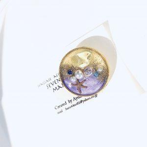 海のブローチ丸(イエロー紫)②