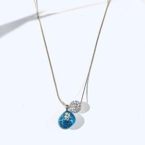 輝きのしずくネックレス(ブルー)③