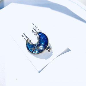 海のブローチ月(コバルトブルー)②