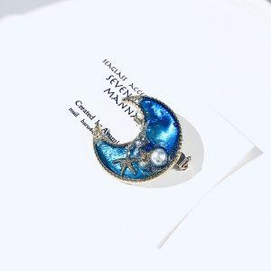 海のブローチ月(コバルトブルー)③