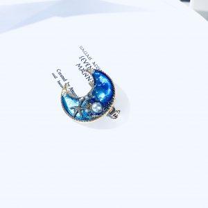 海のブローチ月(コバルトブルー)④