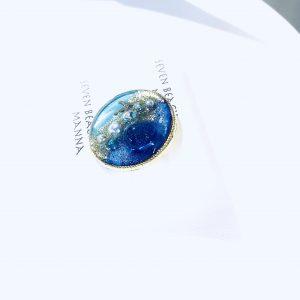 海のブローチ丸(濃青ターコイズ)②