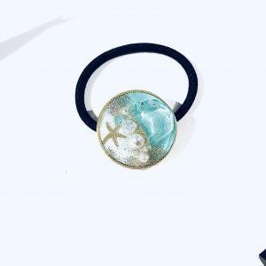 海のヘアゴム (ターコイズ淡水色)①