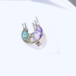 海のブローチ月(紫ターコイズ)③