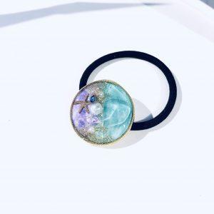 海のヘアゴム (ターコイズ紫)①