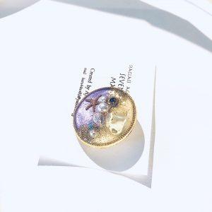 海のブローチ丸(イエロー紫)①