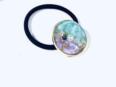 海のヘアゴム (ターコイズ紫)