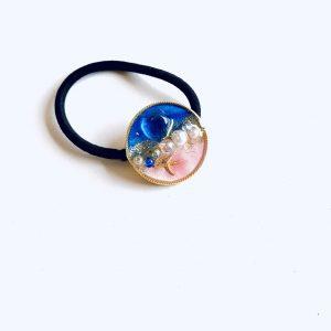 海のヘアゴム(濃ブルーピンク)②