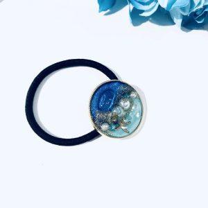 海のヘアゴム(濃ブルーターコイズ)②