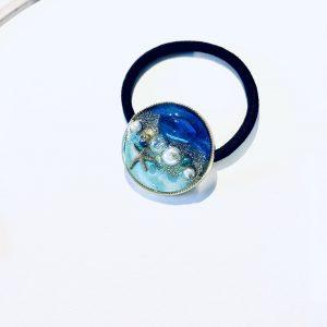 海のヘアゴム(濃ブルーターコイズ)①