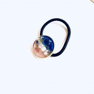 海のヘアゴム(濃ブルーピンク)①